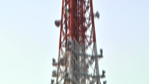TV Broadcast Tower MiddelTop Part PanUpDown Footage