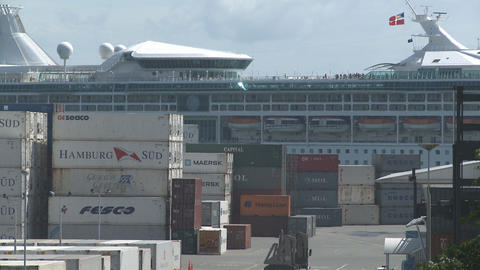 cruise ship behind containers plus truck Footage