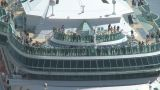 Passengers On Deck As Ship Berths stock footage