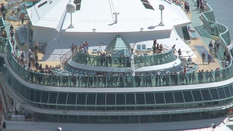 passengers on deck as ship berths Stock Video Footage