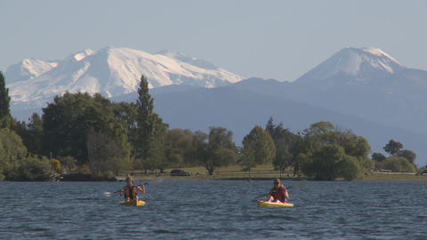 canoes and mountains Stock Video Footage