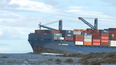 container ship enters harbor Footage