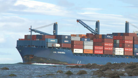 container ship enters harbor Stock Video Footage