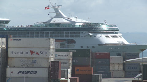 cruise ship passes behind containers Footage