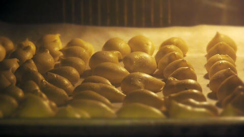 Food cooking in oven Stock Video Footage