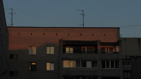 Sun Rises Over the Apartment House Stock Video Footage
