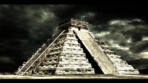 Cloudy Mayan Temple Stock Video Footage