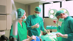 Female anesthetist holding a resuscitation bag on  Footage