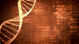 Orange DNA Helix With Flying Text stock footage