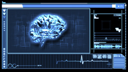 Digital interface featuring revolving brain in blu Animation