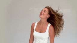 Woman shaking her hair Footage