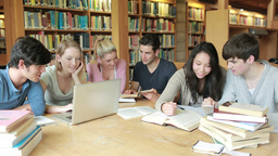 Students learning in a library Footage