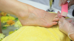 Woman getting a pedicure Footage