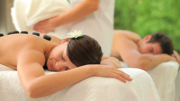 Couple relaxing in a spa Footage