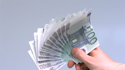 Hand waving hundred euro notes Footage