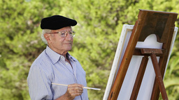 Old man painting Footage