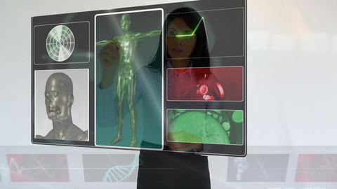 Businesswoman looking at medical clips Animation
