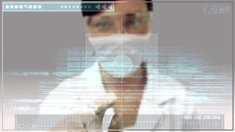 Laboratory worker scrolling through medical digital interface Animation