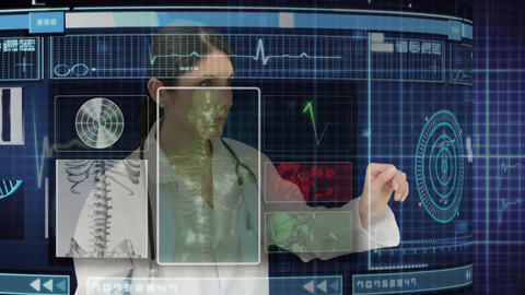 Doctor using holographic medical interface Animation