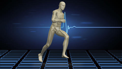 Digital body running on ECG background Animation