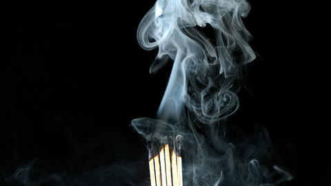 Burning wooden matches Footage