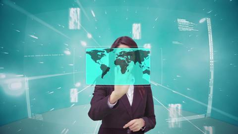 Businesswoman using futuristic interface Animation