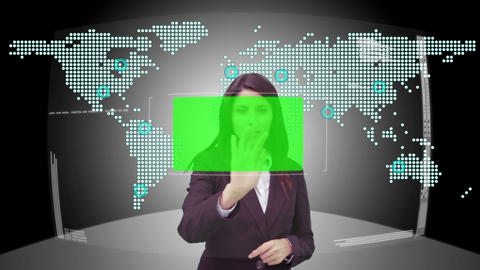 Businesswoman scrolling through interface with copy space Animation
