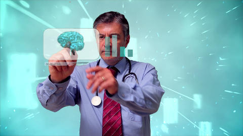 Doctor using futuristic interface Animation