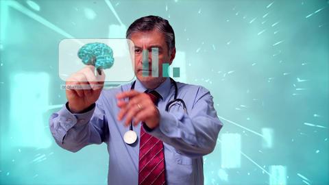 Doctor using futuristic interface Animation