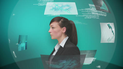 Businesswoman using interactive touchscreen Animation
