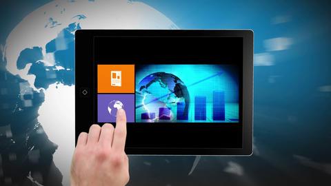 News montage on digital tablet Animation
