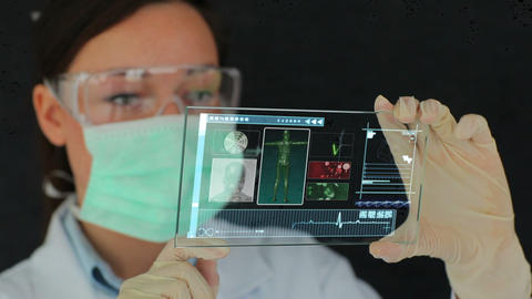 Scientist using futuristic touchscreen technology Animation