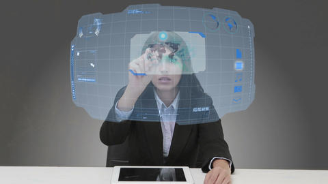 Businesswoman using futuristic touchscreen Animation