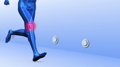 Digital blue human running with highlighted joints Animation