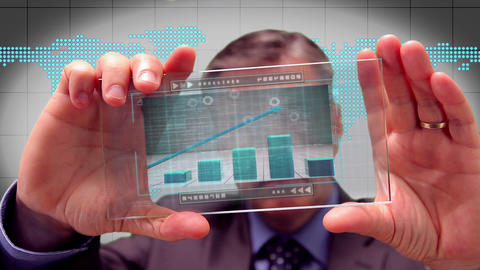 Businessman using futuristic touchscreen Animation