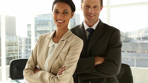 Confident business team standing in office Footage