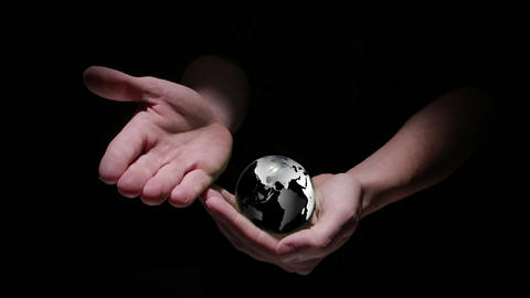 Animation of hands revealing globe earth Stock Video Footage