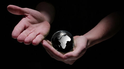 Animation of hands revealing globe earth Animation