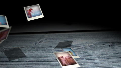 Instant photos falling on wooden boards Animation
