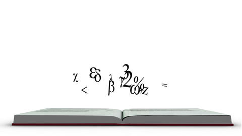 Mathematics formula appearing from a red book Animation