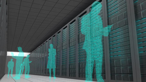 Business people made with binary codes standing together Animation