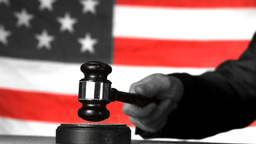 Judge Calling Order With Gavel In American Court I stock footage