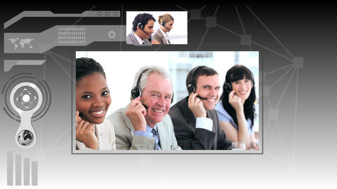 Interface depicting call centre situations Animation