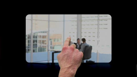 Hand using screens with architects and business people at work Animation