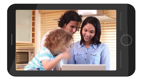 Smarphone screens showing family using laptop Animation