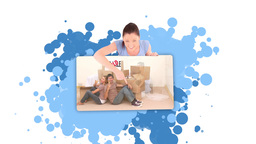 Montage of paint spatter and woman revealing peopl Animation