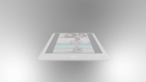 Hand using tablet screen to press play people relaxing clip, Stock Animation