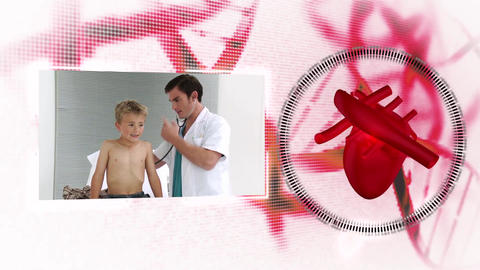 Montage of doctors with heart diagram on backgroun Animation