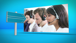 Business and call center montage on blue backgroun Animation