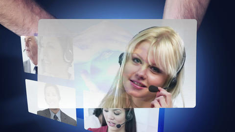 Montage of call centre workers on screens Animation